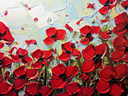 Christine Krainock Prints Framed Prints - Summer Red Poppies Framed Print by Christine Krainock