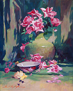 Impressionism Tapestries Textiles Originals - Summer Rose Arrangement by David Lloyd Glover