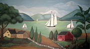 Folk Print Digital Art Posters - Summer Sail Poster by Wendy Presseisen