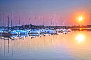 Sailboats In Water Prints - Summer Sails Reflections Print by Randall Branham