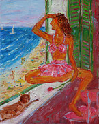 Surfing Art Painting Originals - Summer Sensibility by Xueling Zou