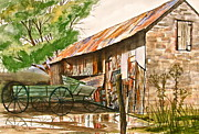 Tin Roof Paintings - Summer Shower by Frank SantAgata