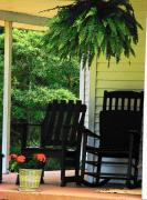 Rocking Chairs Posters - Summer Sitting Poster by Joyce  Kimble Smith