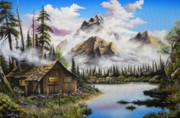 Log Cabin Art Prints - Summer Solitude Print by David Paul