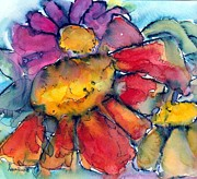 Zinnia Paintings - Summer Splash by Anne Duke