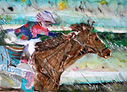 Watercolor  Drawings Posters - Summer Squall Horse Racing Poster by Mindy Newman