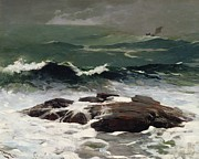 Rocky Shoreline Paintings - Summer Squall by Winslow Homer