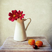 Apricot Metal Prints - Summer Still Life Metal Print by by MargoLuc