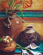 Pottery Metal Prints - Summer Still life Metal Print by Candy Mayer