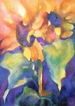 Water Pastels Prints - Summer Sunflowers Print by Kate Bedell