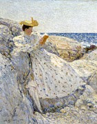 White Dress Posters - Summer Sunlight Poster by Childe Hassam