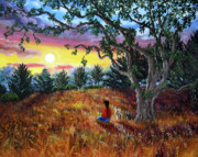 Fantasy Tree Art Paintings - Summer Sunset Meditation by Laura Iverson