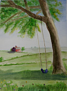 Swing Paintings - Summer Swing. Seasons Part 1 by Corrie McDermott