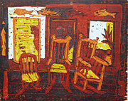 Rocking Chairs Reliefs Prints - Summer time Print by Dee Timm