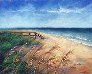 Sand Pastels Posters - Summer Vacation Poster by Christine Kane