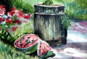 Fruit Drawings Metal Prints - Summer Watercolor Metal Print by Mindy Newman