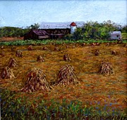 Amish Pastels Prints - Summer Wheat Stacks Print by Bob Richey