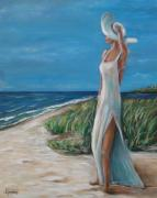 White Dress Painting Originals - Summer Wind by Dyanne Parker