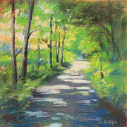 New England. Pastels Prints - summer woods at Kenoza Lake Print by Leslie Alfred McGrath