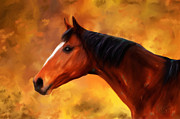 Michelle Wrighton Posters - Summers End Horse Painting Poster by Michelle Wrighton