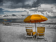 Beach Umbrella Posters - Summers End Poster by Jeff Breiman