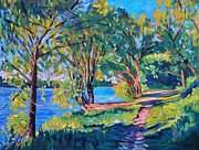 Impressionistic Landscape Painting Posters - Summers Lake Poster by David Lloyd Glover