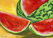 Watermelon Painting Posters - Summertime Delight Poster by Stephen Anderson