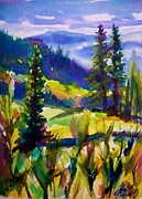 Therese Fowler-bailey Metal Prints - Summertime View from Nelson SOLD original Prints available Metal Print by Therese Fowler-Bailey