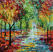Palette Knife Acrylic Prints - Summet Rain Acrylic Print by Beata Sasik