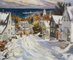 Village Scene Paintings - Summit Avenue in winter by Chris Coyne
