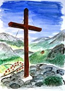 Summit Painting Posters - Summit Cross Poster by Jutta B