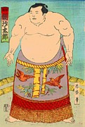 Sumo Framed Prints - Sumo Wrestler Asashio Taro Framed Print by Padre Art