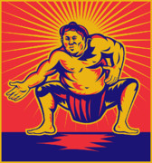 Woodcut Digital Art Prints - Sumo wrestler crouching retro woodcut Print by Aloysius Patrimonio