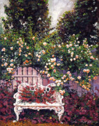 Flower Gardens Painting Prints - Sumptous Cascading Roses Print by David Lloyd Glover