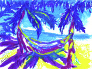 Bahamas Landscape Paintings - Sun and Blue by Anwuli Chukwurah