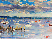 Hudson Valley Paintings - Sun and Clouds in Hudson by Ylli Haruni