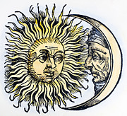 Man-in-the-moon Photo Prints - Sun And Moon, 1493 Print by Granger