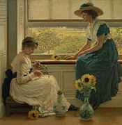 Sunflower Painting Metal Prints - Sun and Moon Flowers Metal Print by George Dunlop Leslie