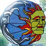 Panel Glass Art - Sun and Moon by Liz Shepard