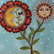 Folk Art Prints Framed Prints - Sun and Moon Framed Print by Rain Ririn