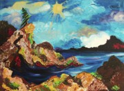Leclair Prints - Sun and Rocks Print by Suzanne  Marie Leclair