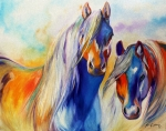Red Sky Paintings - SUN and SHADOW EQUINE ABSTRACT by Marcia Baldwin