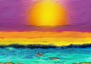 Sunrise Over Water Paintings - Sun Arising by Karen Conine