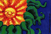 Sunset Greeting Cards Painting Posters - Sun Baby Poster by Genevieve Esson