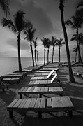 Islamorada Framed Prints - Sun Bathing Benches at a Resort on Key Islamorada Framed Print by Randall Nyhof