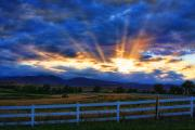 Sunset Posters Photo Prints - Sun beams in the sky at sunset Print by James Bo Insogna