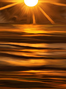 Sunset On The Lake Prints - Sun Burst Print by Paul St George