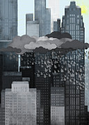 Cityscape Digital Art - Sun Coming Out During A Thunderstorm by Jutta Kuss