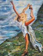 Gymnastics Paintings - Sun Dancer Nastia by Gregory Allen Page