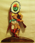 Intarsia Sculpture Posters - Sun Dancer with Flute Poster by Russell Ellingsworth